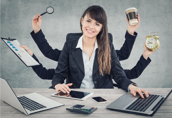 image of a business woman multitasking