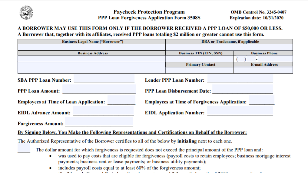 A Simpler PPP Forgiveness Application for Loans of $50,000 or Less