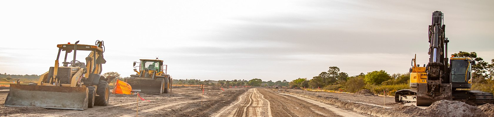 tractors on construction site