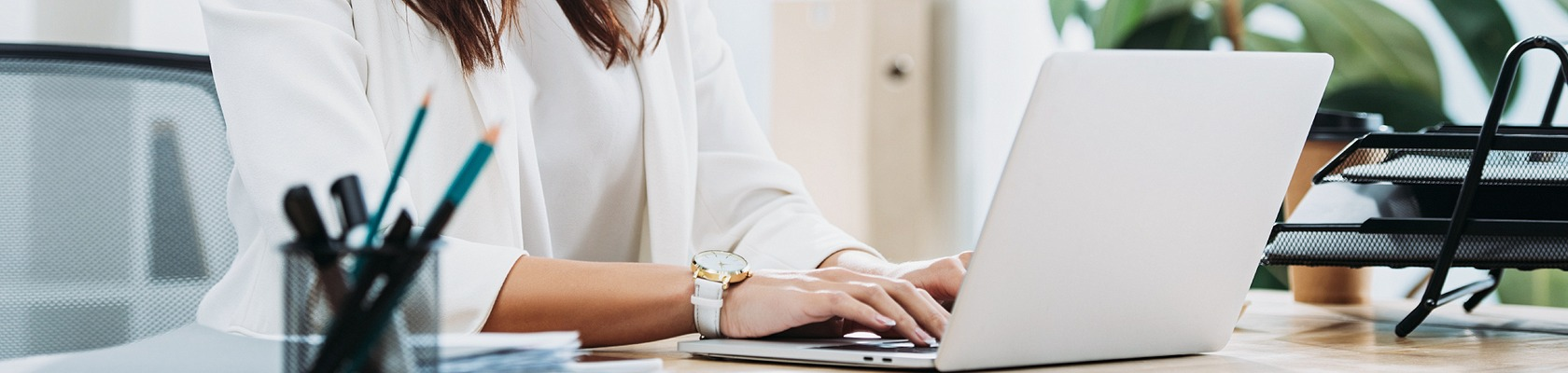 a photo of an accountant in Lancaster PA on her computer