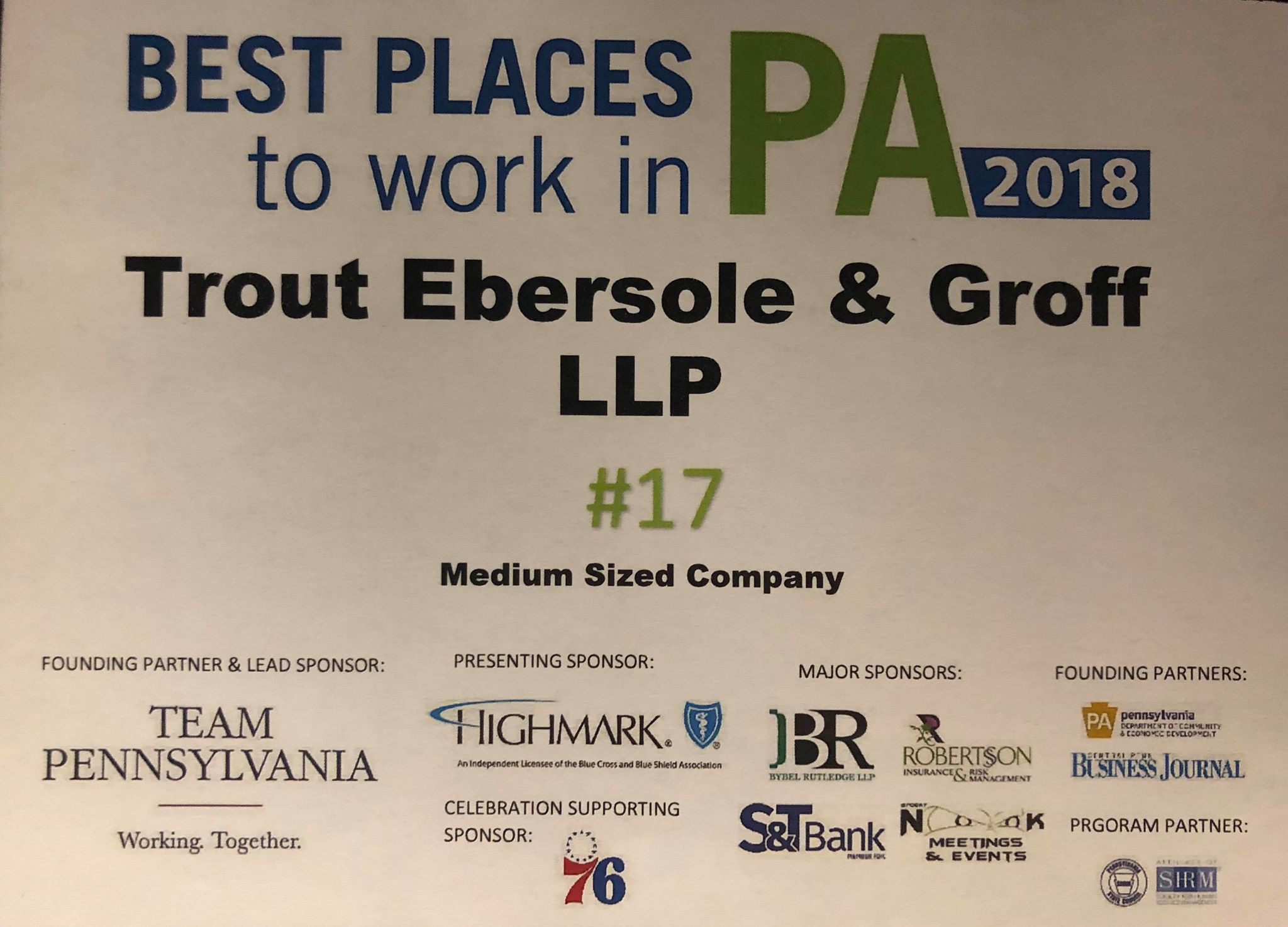TEG Earns 17th Spot for Best Places to Work in PA